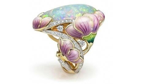 Women's Fashion 18K Solid Gold Floral Enamel Oval Cut Fire Opal Rings