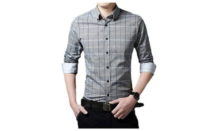 Mens Casual Slim Fit Plaid Pattern Button Front Cotton Shirt Size L