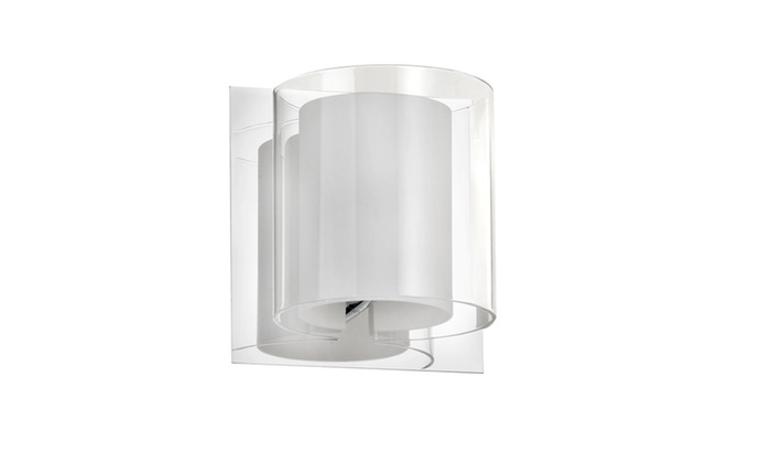 Polished Chrome Wall Sconce with Frosted and Clear Glass