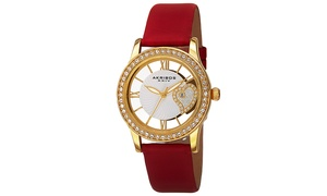 Akribos XXIV Ladies Watch with Transparent Crystal Heart Dial and Satin Strap