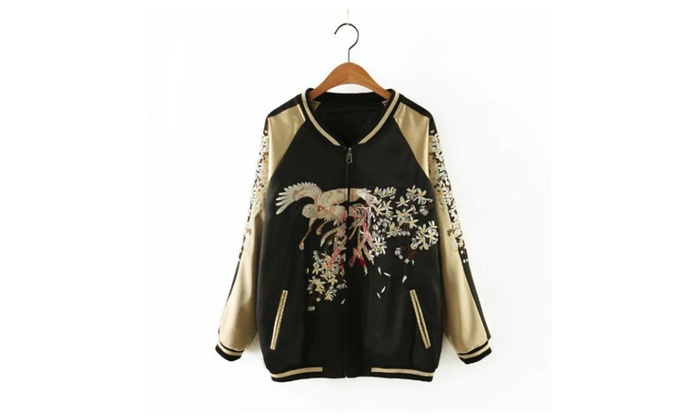 Lightweight Bird Embroidery Bomber Jacket
