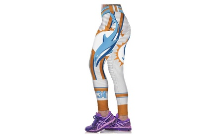 Women's Miami Dolphins Designed Sports Elasticity Tight Fitness Pants 57ff2469-67b4-4931-87a6-0d6df3acece4