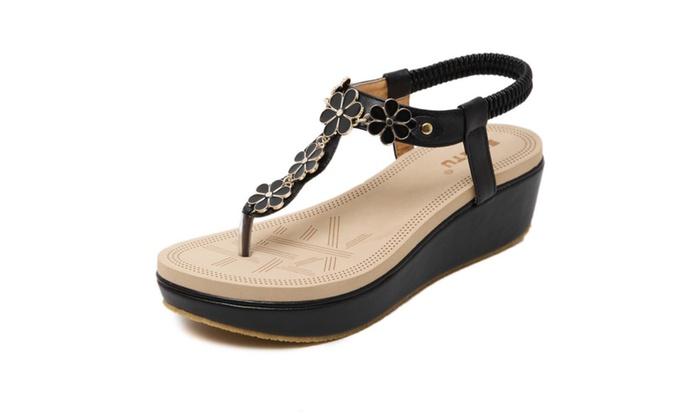 953af6367 Women s Flower Platform Thong Wedge Sandals ...