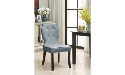 Set of 2 - Cartney Dining Accent Chair Button Tufted Pebble Grain PU Leather