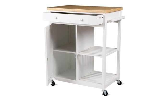 4 caster kitchen island cart storage cabinet wooden table top