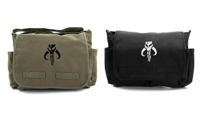 2125265dc Star Wars Boba Fett Mandalorian Skull Heavyweight Canvas Messenger Bag