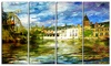 Old Belgium Channel Landscape Photo Metal Wall Art 48x28 4 Panels