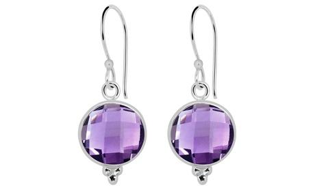 Orchid Jewelry sterling silver 10.80 carat amethyst dangle earrings