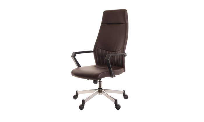 Charmant Ergonomic Brown High Back Leather Task Chair By Timeoffice ...