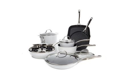 Curtis Stone DuraPan 13-piece Forged Nonstick Cookware - Refurbished - Silver b9d45c07-3f82-4c9d-a0e3-3eb2d31b815d