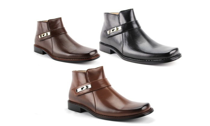 Men's Ankle High Square Toe Casual Dress Boots 38901