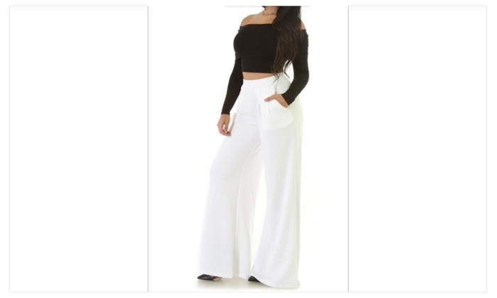 Wide Leg White Dress Pants