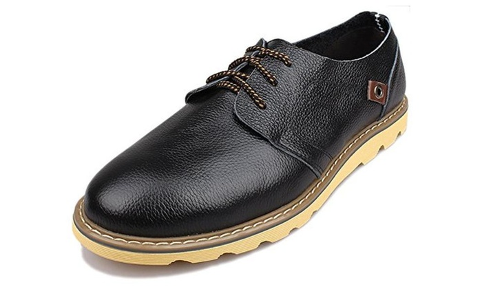 Men's Top Grain Leather Oxford Flats Shoes Lace up