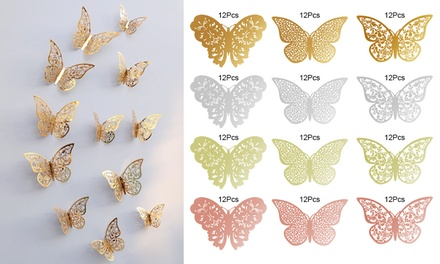12Pcs 3D Butterfly Wall Decals Sticker Metallic Art Decorations Sticker