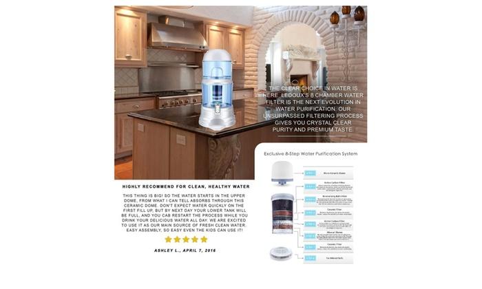 Ledoux Water Filter Dispenser 64 Cup Large 4 Gallon Countertop Pitcher