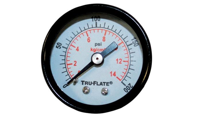 Tru-Flate 24801 Mini Air Line Pressure Gauge 0-200 Psi