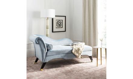 Safavieh Caiden Velvet Chaise with Pillow