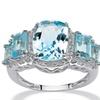 5.30 TCW Genuine Blue Topaz Ring in .925 Silver