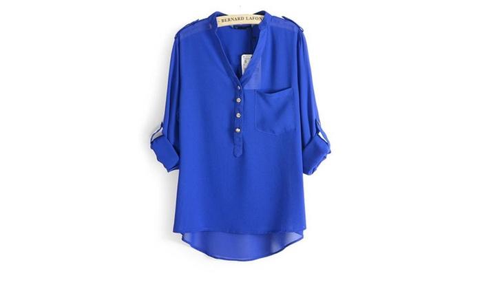 Womens Casual Long Sleeve Sheer Chiffon Shirts