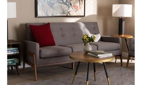 Perris Fabric Upholstered Walnut Wood Sofa