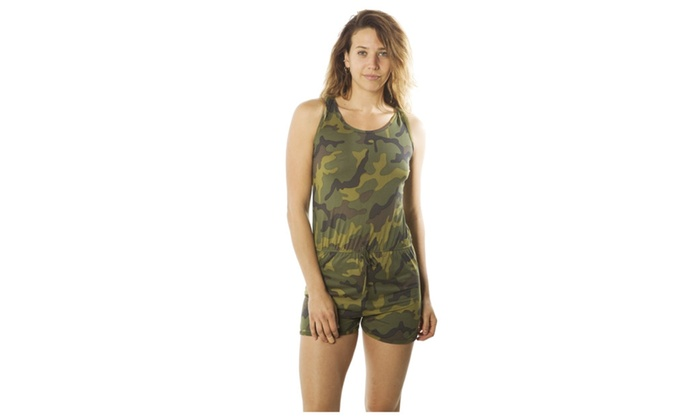 a7807f6a876d Racer Back Camouflage Romper Camo-Ladies Shorts