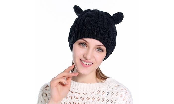 88fc3366a30 Up To 86% Off on Women Cat Ear Crochet Knit Br...