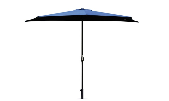 Half Round 10ft Outdoor Aluminum Patio Umbrella Wall Window Corner Blue