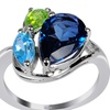 4.85 CTTW Genuine Topaz, Peridot and Blue Topaz St. Silver Ring