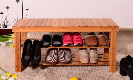 Bamboo Shoe Rack Storage Benches For Entryway Shelf Boot Organizer