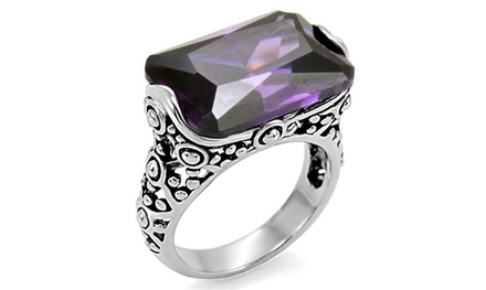 28 Ct Emerald Cut Zirconia Antique Celtic Style Stainless Steel Ring