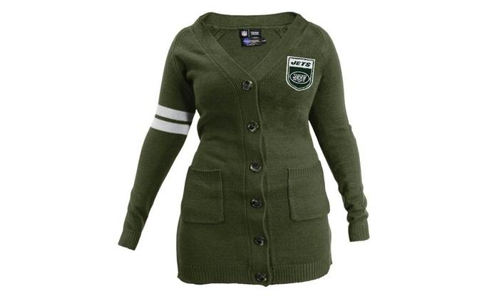 brand new 0311e 1d2d5 Little Earth 3C00630-JETS-OLIV-SM NFL Womens Varsity Cardigan New York Jets  - Ol