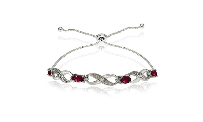 dad2c6bf4 Ruby Figure 8 Infinity Adjustable Bolo Bracelet in Sterling Silver Oval 5/8  ct Good Cut Created Ruby Created Ruby 4 Link