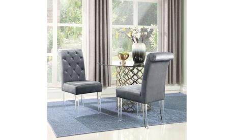 Sharyn Dining Side Chair Button Tufted Velvet Acrylic Legs (Set of 2)