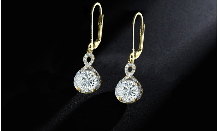 ba4f64947 14K Gold Plated Infinity Crystal Drop Earrings Made with Swarovski Crystals