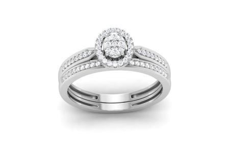 10K Gold 1/4 Ct Round Cut Real Diamond Halo Engagement Ring Set HI I2
