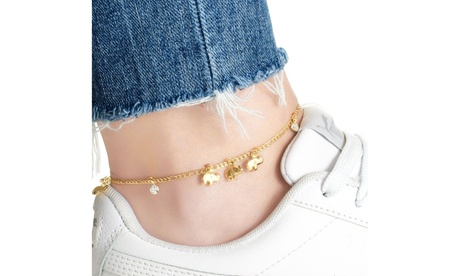 18K Gold Plated Elephant Family Crystal Anklet