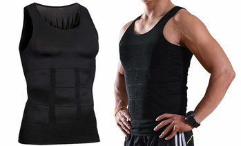 Mens Body Shaper Black Slimming Shirt Tummy Waist Vest Slim Compression Tank