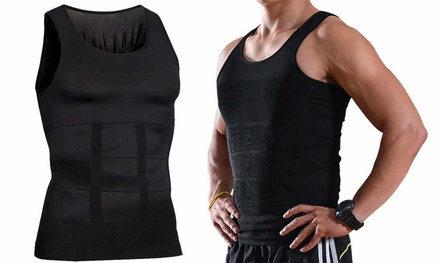 Mens Body Shaper Black Slimming Shirt Tummy Waist Vest Slim Compression Tank