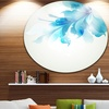 Tender Blue Abstract Flowers' Floral Metal Circle Wall Art