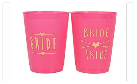 Bride and Bride Tribe Cups Pink - (12 Pack ) cfc93374-245f-4e36-ab23-5e3d57745a8c