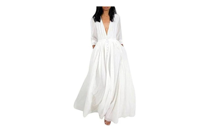 df0cf5cf9c7 Women Deep V Neck 3/4 Sleeve Button Down Long Shirt Dress | Groupon