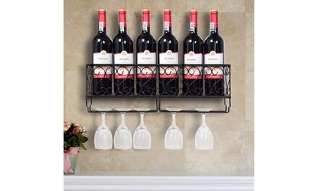 Wall Mounted Metal Wine Rack Wine Bottle Storage w/ Glass Holder Home Bar Decor