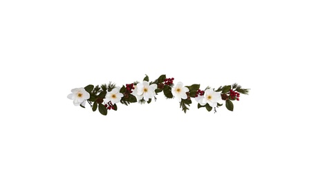 Nearly Natural 6' Magnolia, Pine and Berries Artificial Garland 12eaf1bc-4238-4ed6-95cd-7aeed80dee55
