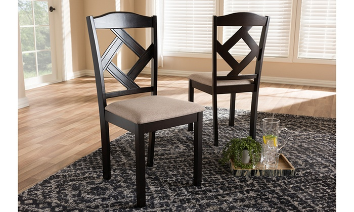 Sensational Ruth Beige Fabric Upholstered And Dark Brown 2 Piece Dining Bralicious Painted Fabric Chair Ideas Braliciousco