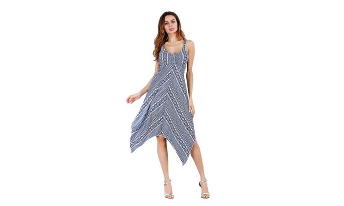 Anduo: Women Summer Sleeveless V Neck Elastic Irregular Hem Backless Dress