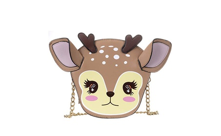 QZUnique Girl's Pu Leather Deer Shaped Funny Crossbody BagClutch Purse - Brown (Goods Women's Fashion Accessories Handbags Cross-Body) photo