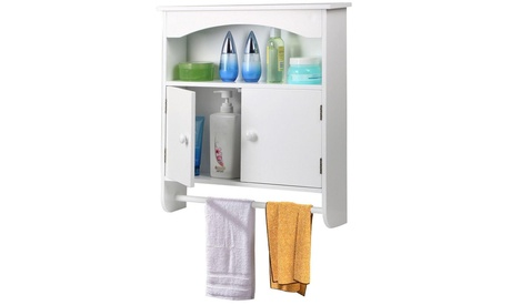 Bathroom Wall Cabinet Medicine Storage Organizer Cabinet W/ Door & Towel Shelf
