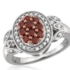 Jewelonfire 1/2 CTW Red & White Diamond Ring In SS 16801