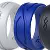 Men's Silicone Ring - Designed Rubber Wedding Band - 3 Rings set