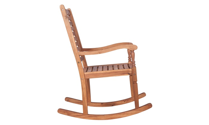 Sensational Offex Solid Acacia Wood Rocking Patio Chair Groupon Ibusinesslaw Wood Chair Design Ideas Ibusinesslaworg